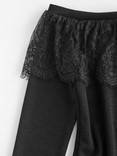 best Lace Flounce Off Shoulder Ribbed Jumper Sweater - BLACK S Mobile