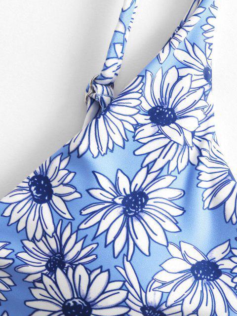 online ZAFUL Ring Floral Bikini Swimwear - DEEP SKY BLUE M Mobile