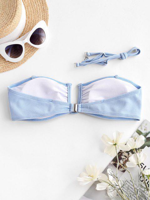 lady ZAFUL U Wired Textured Bandeau Bikini Top - LIGHT SKY BLUE M Mobile