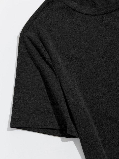 ZAFUL Camiseta con Corte Alto bajo de Bolsillo en Pecho - Negro L Mobile