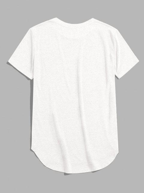 online ZAFUL Solid Chest Pocket High Low T-shirt - WHITE M Mobile
