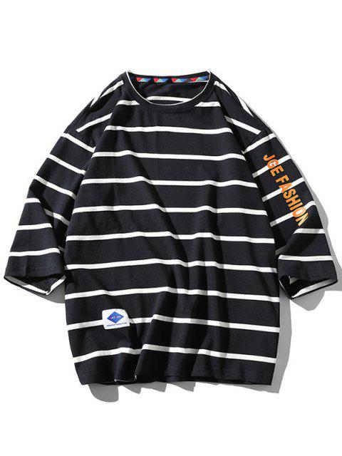 hot Letter Graphic Print Striped T-shirt - BLACK XL Mobile