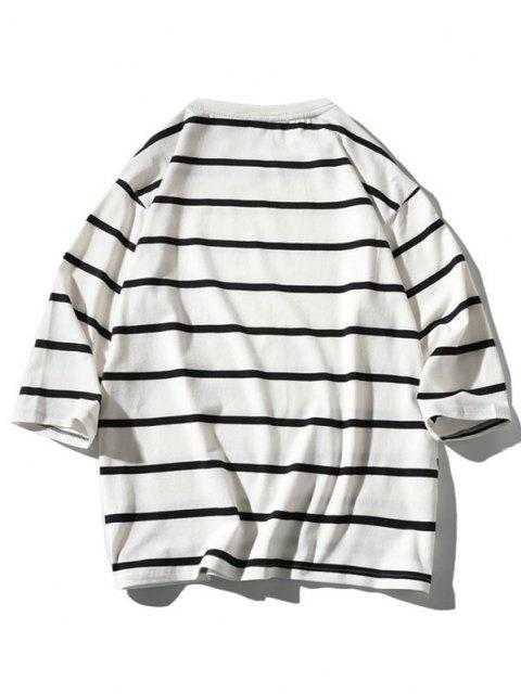 latest Letter Graphic Print Striped T-shirt - WHITE 2XL Mobile