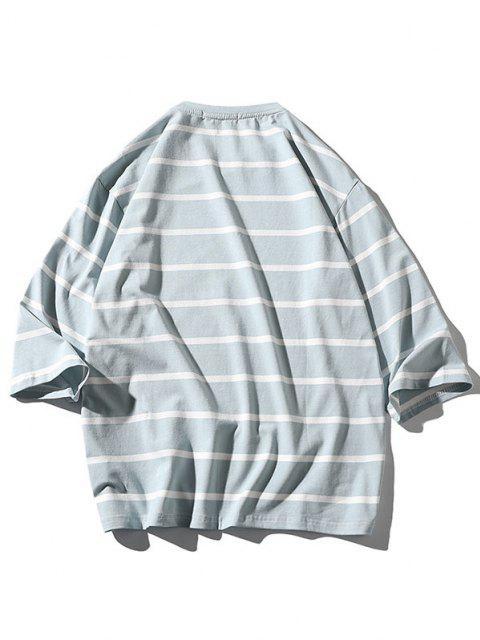 Maglietta a Righe con Motivo Grafico a Lettera - Azzurro XL Mobile