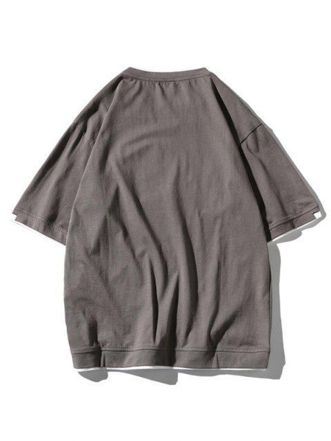 T-Shirt a Contrasto con Stampa Lettere - Grigio 2XL Mobile