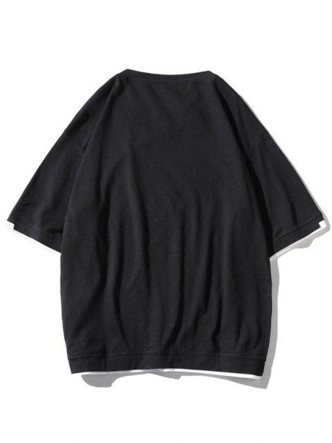 Letter Print Contrast Trim 2fer T-shirt - أسود 3XL Mobile