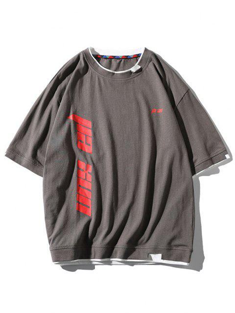 T-Shirt Lettre Imprimé à Ourlet Contrasté - Gris 3XL Mobile