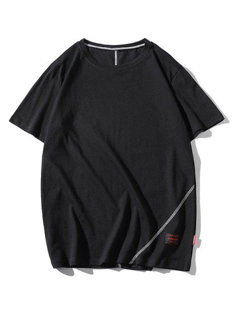 new Letter Print Stitching Short Sleeve T-shirt - BLACK XS Mobile