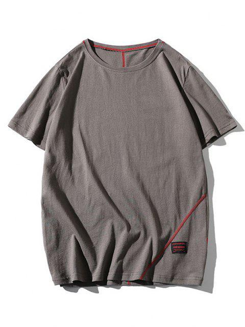 T-shirt Couture Lettre Imprimé à Manches Courtes - Gris XL Mobile