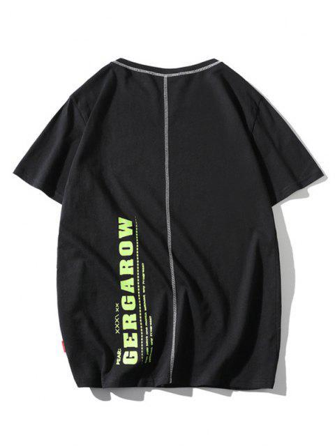 Letter Print Stitching Short Sleeve T-shirt - أسود L Mobile