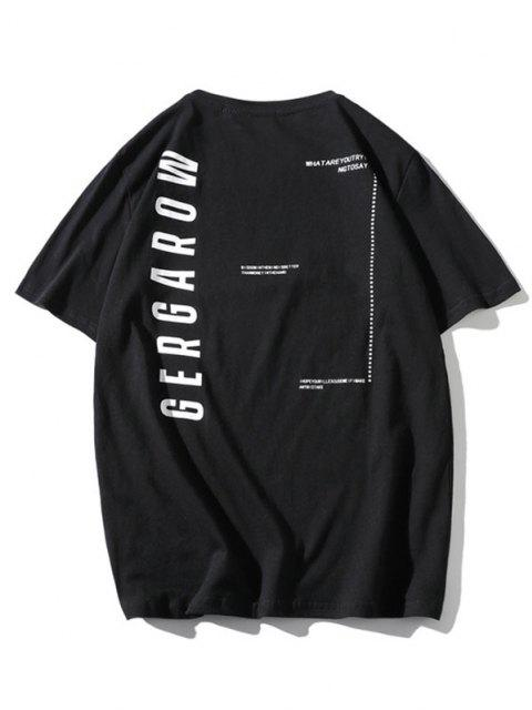 sale Letter Graphic Printed Basic T Shirt - BLACK XS Mobile