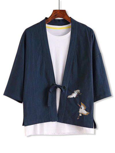 Camisa De Diseño Chino Bordado - Cadetblue M