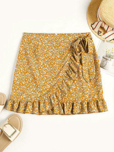 Tiny Floral Ruffles Overlap Skirt - Yellow S