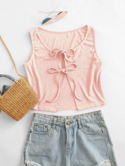 Ribbed Tie Front Crop Top - Pink S