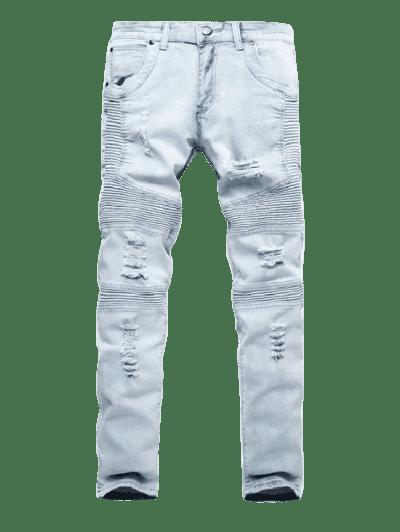 Distressed Drape Panel Ripped Denim Pants