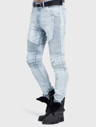 Distressed Drape Panel Ripped Denim Pants - Light Blue 32