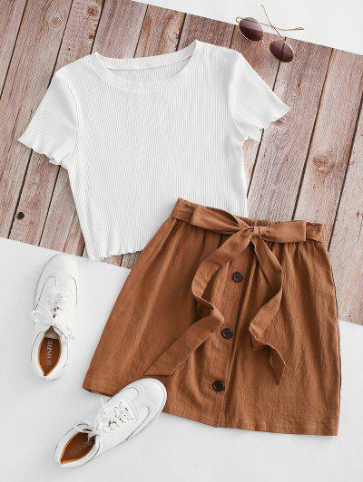 Ribbed Button Down Two Piece Dress - Brown M