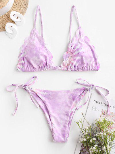 ZAFUL Scalloped Tie Dye String Bikini Swimwear - Light Purple M