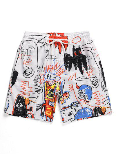 Drawstring Cartoon Graffiti Printed Shorts - White M