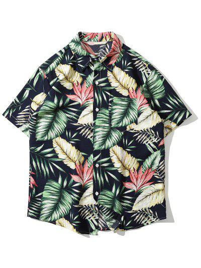 Camisa De Playa De Bolsillo Con Estampado Tropical De Hojas - Verde M
