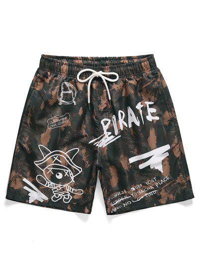 Letter Graphic Printed Casual Shorts - Puce Xs