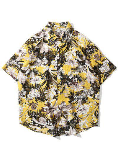 Camisa Floral Y Hojas - Amarillo Xl