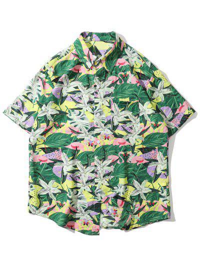 Tropical Flamingo Print Pocket Shirt - Green 2xl