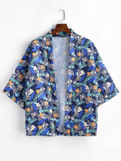 Leaf Floral Printing Kimono Shirt - Cadetblue 2xl