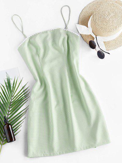 ZAFUL Checked Mini Cami Dress - Light Green L