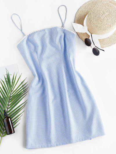 ZAFUL Checked Mini Cami Dress - Light Sky Blue S