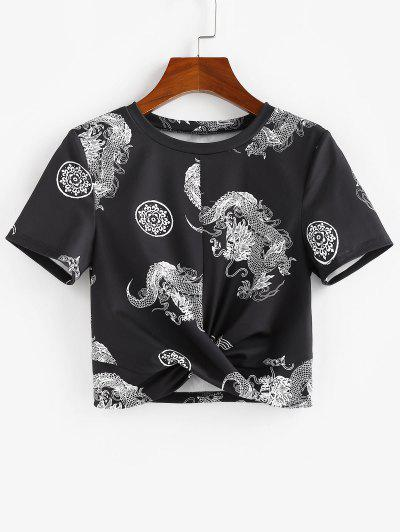 ZAFUL Chinese Style Dragon Print Twist Tee - Black S