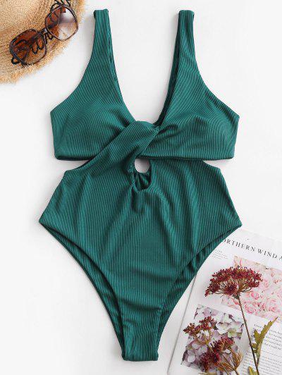 ZAFUL Ribbed Twist Cutout One-piece Swimsuit - Greenish Blue M