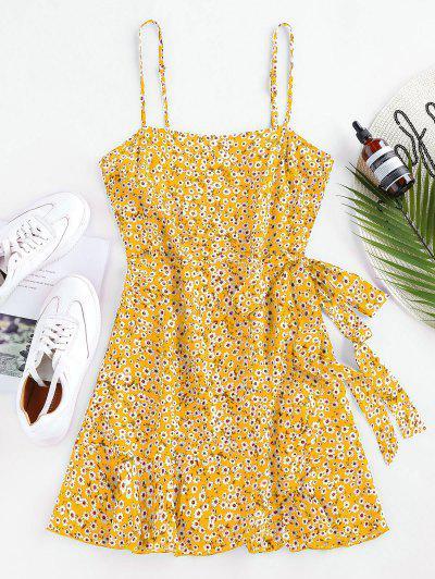 ZAFUL Ditsy Print Self Tie Flounce Dress - Yellow S