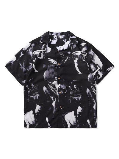 Art Portrait Print Button Up Side Slit Shirt - Black L