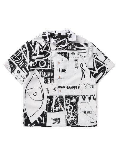 Stick Figure Graffiti Side Slit Button Up Shirt - White M