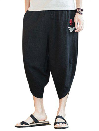 Embroidery Chinese Oriental Cropped Pants - Black M