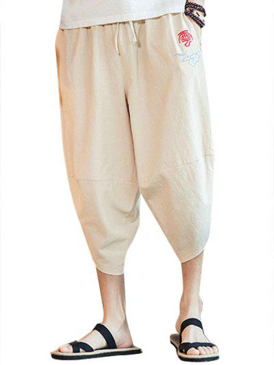 Embroidery Chinese Oriental Cropped Pants - Beige L