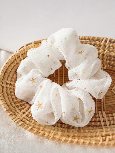 Gilding Star Elastic Fabric Scrunchies - White