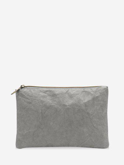 Plain Crinkle Paper Clutch Bag - Gray Cloud
