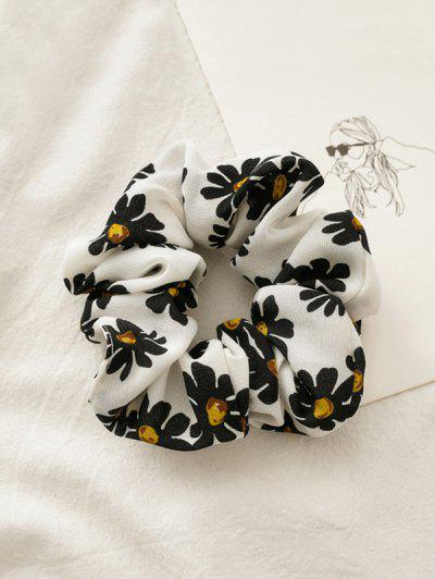 Daisy Flower Print Fabric Scrunchy - White