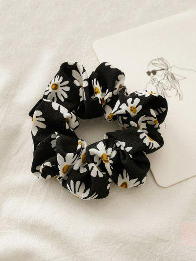 Daisy Flower Print Fabric Scrunchy - Black