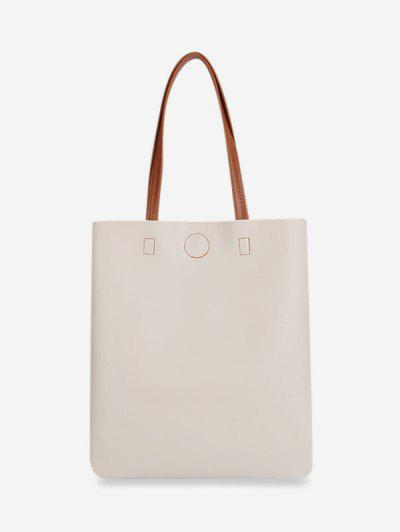 Two Tone Patch Leather Large Capacity Handbag - White