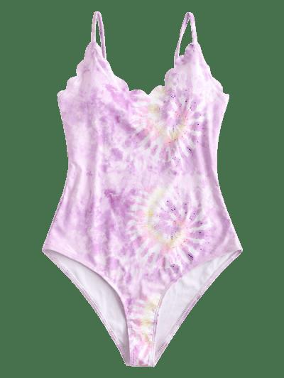 ZAFUL Tie Dye Scalloped One-piece Swimsuit