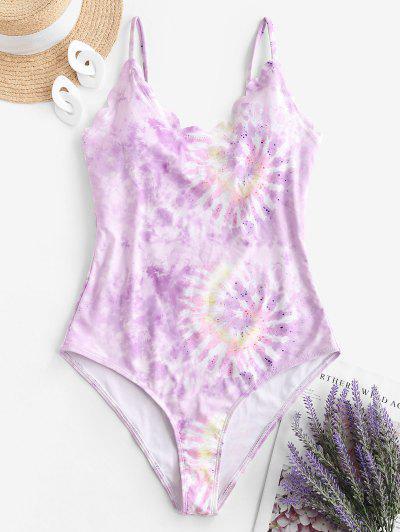 ZAFUL Tie Dye Scalloped One-piece Swimsuit - Light Purple M