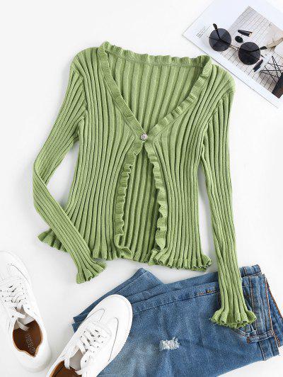 ZAFUL One Button Ruffle Knit Cardigan - Avocado Green M