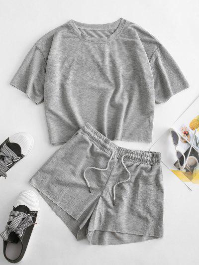 Drop Shoulder Pocket Drawstring Shorts Set - Gray Cloud M