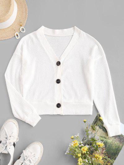 Button Up Drop Shoulder Plunging Cardigan - White S