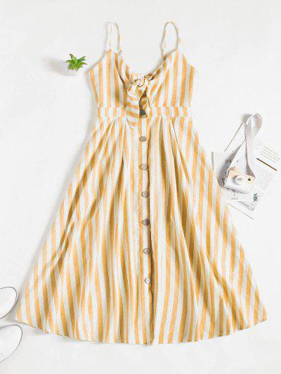 ZAFUL Knot Striped Button Down Cami Dress - Bee Yellow S