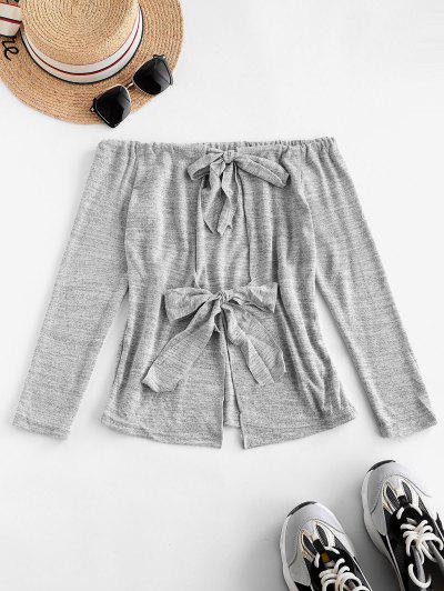 Heather Tie Back Off Shoulder T-shirt - Gray Goose S