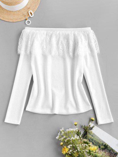 Lace Flounce Off Shoulder Ribbed Jumper Sweater - White L
